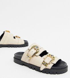 Exclusive Sierra embellished footbed sandals in croc embossed leather-Beige