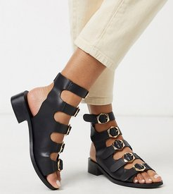 Exclusive Starlet gladiator sandals with buckles in black leather