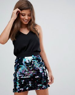 2-in-1 dress with sequin skirt-Black