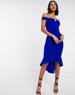 bardot fishtail midi dress-Blue