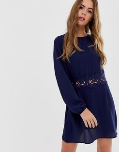 long sleeve belted dress-Navy