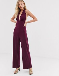 plunge wide leg jumpsuit-Purple