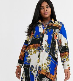 classic shirt in scarf print-Multi