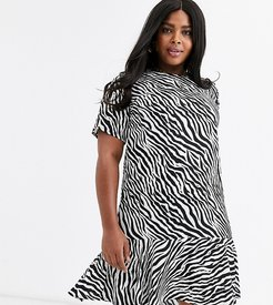 drop hem sihft dress in mono zebra-Multi