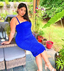 gathered midi dress in blue