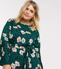 pleated sleeve top in floral leopard print-Multi