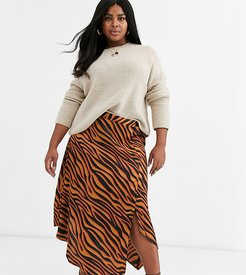 step hem midi skirt in bright zebra-Multi