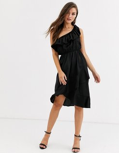 ruffle one shoulder satin dress in black