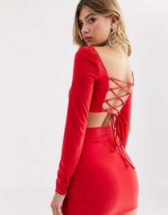AYM premium square neck paneled long sleeve crop top in red