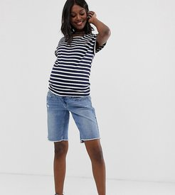 Maternity long line raw hem short with removable band-Blue
