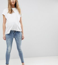 Maternity over the bump ankle grazer skinny jean with removable bump band-Blue