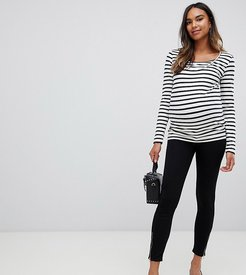 Maternity over the bump legging with zip detail-Black