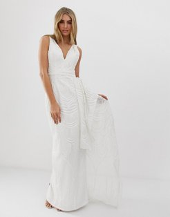 bridal sequin maxi dress with detachable skirt in white-Pink