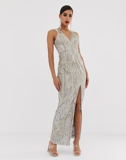 embellished metallic lace maxi dress in silver