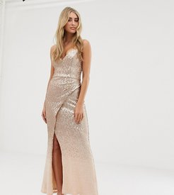 embellished ombre sequin strappy back maxi dress in gold