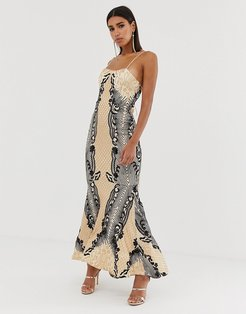 embellished patterned sequin fishtail maxi dress with strappy back in mutli-Multi