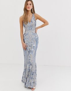 embellished patterned sequin strappy back maxi dress in silver