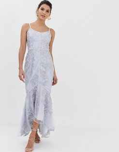 embroidered lace fluted hem midaxi dress in gray