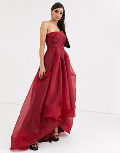 full maxi dress with organza bust detail in wine red