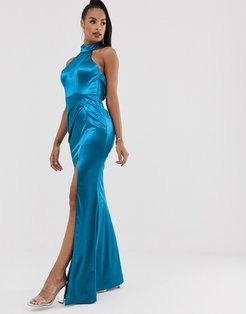 halter neck liquid draped gown in teal-Blue