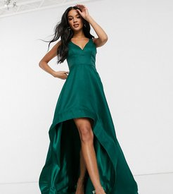 high low prom dress with full organza detail in emerald green