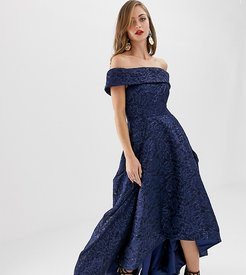 off shoulder full prom dress with high low hem in navy