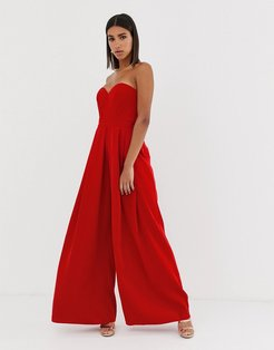 sweetheart wide leg maxi jumpsuit in red