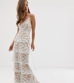 tiered contrast lace maxi dress in white
