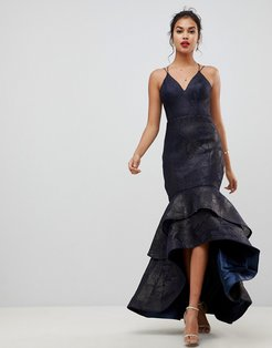 tiered fishtail mesh maxi dress in navy