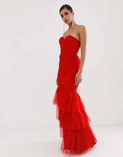 tiered tulle sweetheart bandeau maxi dress in red