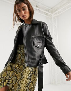 Barney's Originals boxy leather jacket with belt in black