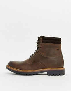 Hide lace up boots in brown