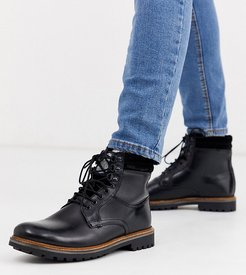 Wide Fit Hide lace up boots in black