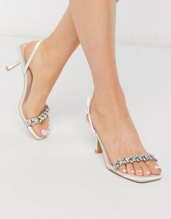 Bridal Almeria sling back heeled sandals with embellishment in ivory satin-White