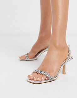 Bridal Almeria sling back heeled sandals with embellishment in silver