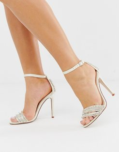 Bridal Glimmer ivory satin embellished stiletto heeled sandals-White