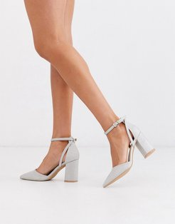 Bridal Katy heeled shoes in silver glitter