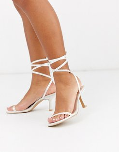 Bridal Levinia ankle tie heeled sandals in ivory satin-White