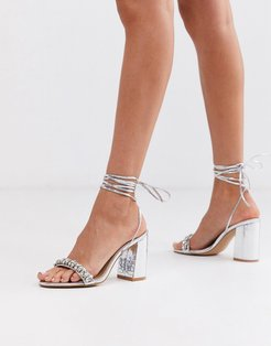 Bridal Penelope heeled sandals with embellished strap in silver metallic