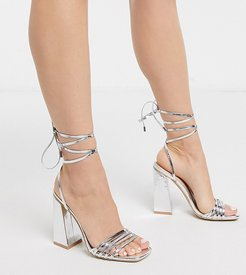 Exclusive Amirah strappy ankle tie heeled sandals in silver