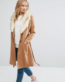 Belted Wool Blend Coat With Faux Fur Collar-Brown