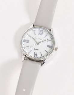 watch with gray strap and silver dial