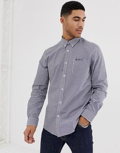 gingham slim fit shirt-Navy