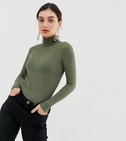 rollneck knitted pullover-Green