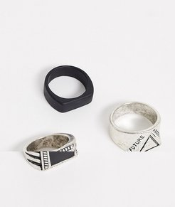 3 pack ring set in silver