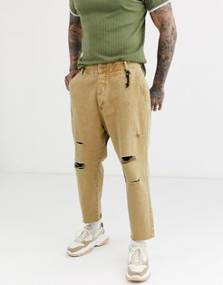 carrot loose fit jeans in camel-Beige