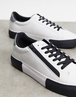 chunky sneakers in white with zip detailing