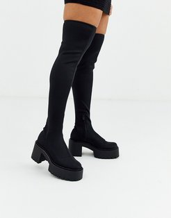 chunky sole pull on boots in black