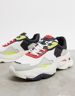 chunky sole sneakers with contrast panels-Multi