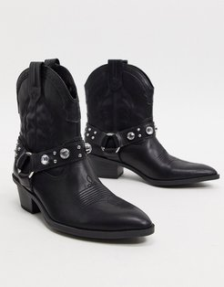 harness detail western boots in black